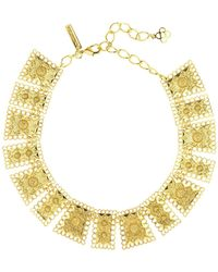 Oscar de la Renta - Golden Scalloped Edge Necklace - Lyst