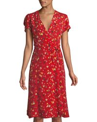 Haute Rogue - Sara Floral Wrap Midi Dress - Lyst