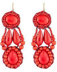 Panacea Howlite Bead Drop Earrings - Red