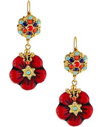 Jose & Maria Barrera Glass Flower-drop Earrings - Red