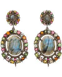 Bavna - Labradorite Oval-drop Earrings W/ Diamonds & Tourmaline - Lyst