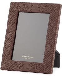 Graphic Image Python-embossed Leather Picture Frame - 5 X 7 - Brown