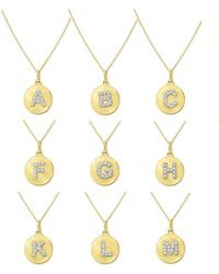KC Designs 14k Yellow Gold Diamond Disc Initial Necklace - Metallic