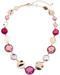 Fragments - Stone & Wavy Coin Necklace Pink - Lyst