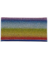 Neiman Marcus Rainbow Crystal Minaudiere Bag - Blue