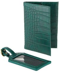 Neiman Marcus - Croco Passport And Luggage Tag Set - Lyst