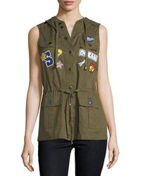 Romeo and Juliet Couture - Hooded Patchwork Cargo Vest - Lyst