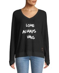 Peace Love World - Love Always Wins Comfy Slogan Top - Lyst
