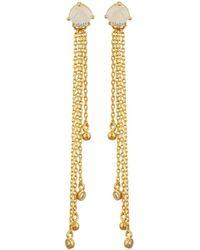 Tai - Golden Rose Quartz Crystal Threader Earrings - Lyst