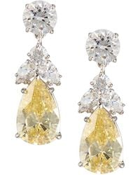 Fantasia by Deserio - Pear Canary Crystal Drop Earrings - Lyst
