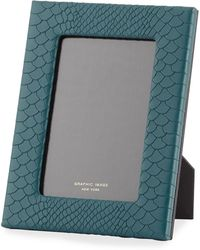 Graphic Image Python-embossed Leather Picture Frame - 5 X 7 - Green