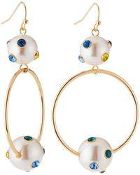 Lydell NYC - Pearly Hoop Drop Earrings - Lyst