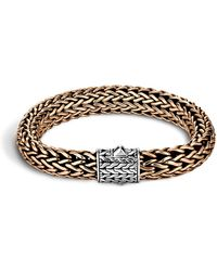 John Hardy Men's Two-tone Woven Chain Bracelet Silver/bronze Size M - Metallic