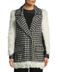 Yigal Azrouël - Shearling Checked Tweed Topper Coat - Lyst