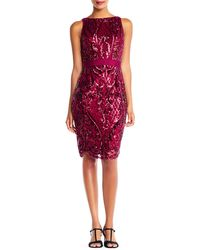 Adrianna Papell - Sequined Sheath Cocktail Dress - Lyst