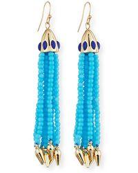 Lulu Frost Beaded Blue Tassel Drop Earrings
