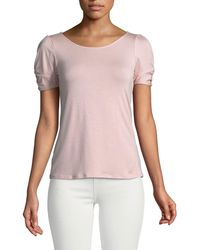 Casual Couture - Scoop-neck Knotted-sleeve Tee - Lyst