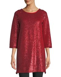 Joan Vass Plus Size Easy 3/4-sleeve Sequin Tunic - Red