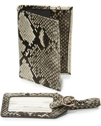 Neiman Marcus - Boxed Set Python Embossed Passport Holder & Luggage Tag Set - Lyst