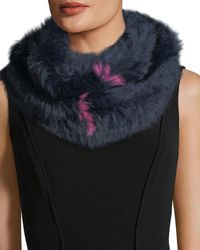 Annabelle New York - Rabbit Fur Knit Striped Infinity Scarf - Lyst