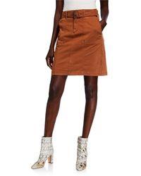 Bagatelle Stretch Cotton Skirt - Brown