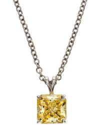 Fantasia by Deserio - Square Canary Cz Pendant Necklace - Lyst