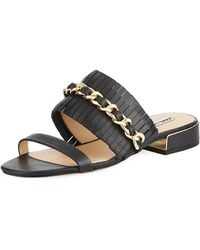 Karl Lagerfeld - Athens Two-band Leather/chain Slide Sandal - Lyst