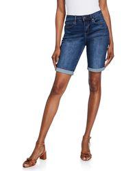 Nicole Miller High-rise Rolled-cuff Denim Shorts - Blue