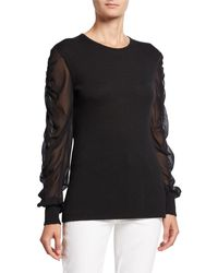 Neiman Marcus Twofer Cashmere Crewneck Chiffon-sleeve Sweater - Black