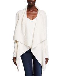Lafayette 148 New York Waterfall Wool-silk Cardigan - White
