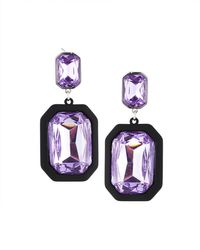 Fragments - Rectangular Crystal Drop Earrings - Lyst