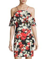 Alexia Admor | Daisy-print Cold-shoulder Sheath Dress | Lyst