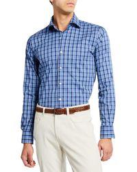 Peter Millar Men's Churchill Block Check Woven Shirt - Blue