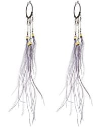Nakamol | Long Feather Dangle Hoop Earrings | Lyst