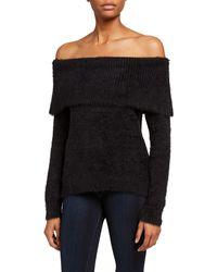 Kensie Fuzzy Yarn Off-the-shoulder Sweater - Black
