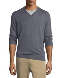Luciano Barbera - Wool-blend V-neck Sweater - Lyst