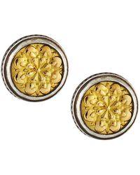 Konstantino - Sterling Silver & Embossed 18k Button Earrings - Lyst