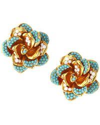 Jose & Maria Barrera Beaded Rose Clip-on Stud Earrings - Multicolor