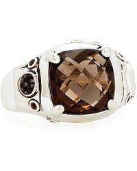 John Hardy - Batu Bamboo Cushion-cut Smoky Quartz Ring Size 7 - Lyst