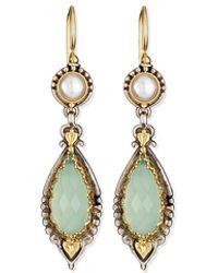 Konstantino | Amphitrite Sea Blue Agate & Pearl Drop Earrings | Lyst