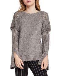BCBGeneration - Fringed Pointelle-sleeve Sweater - Lyst