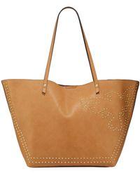Neiman Marcus Alma Studded Tote Bag - Brown