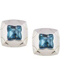 BVLGARI - Estate 18k Piramide Blue Topaz Stud Earrings - Lyst