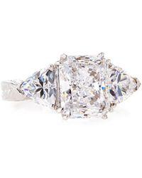 Fantasia by Deserio - Emerald & Trillion-cut Clear Cz Crystal Ring Sizes 6-8 - Lyst