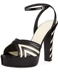 2eb422c61ee6 Lyst - Michael Kors Trista Studded Two-tone Leather Block Heel ...