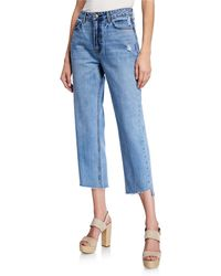 EVIDNT Distressed Cropped Straight Jeans - Blue