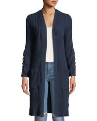 Love Scarlett - Button-sleeve Ribbed Knit Duster - Lyst