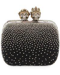Alexander McQueen - Queen & King Skull Leather Box Clutch Bag - Lyst