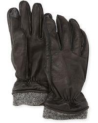 Neiman Marcus Leather Tech Gloves W/wool Cuff - Black