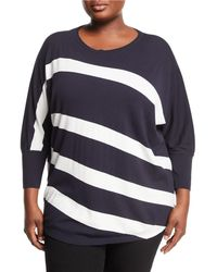 Lafayette 148 New York - Dolman-sleeve Bicolor Striped Matte Crepe Sweater - Lyst